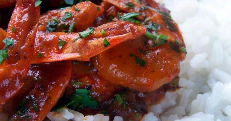Pikantne krewetki w pomidorowym sosie